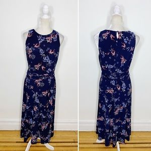 LRL navy blue floral sleeveless fit flare dress